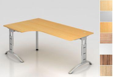 Schreibtisch höhenverstellbar, Winkelform 90°, Arbeitshöhe 650-850 mm, Tiefe 800 mm, links/rechts 1200 mm, Breite 2000 mm, Gestell C-Fuß Silber – Bild 1