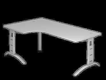 Schreibtisch höhenverstellbar, Winkelform 90°, Arbeitshöhe 650-850 mm, Tiefe 800 mm, links/rechts 1200 mm, Breite 2000 mm, Gestell C-Fuß Silber – Bild 3