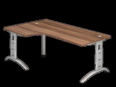 Schreibtisch höhenverstellbar, Winkelform 90°, Arbeitshöhe 650-850 mm, Tiefe 800 mm, links/rechts 1200 mm, Breite 2000 mm, Gestell C-Fuß Silber – Bild 7