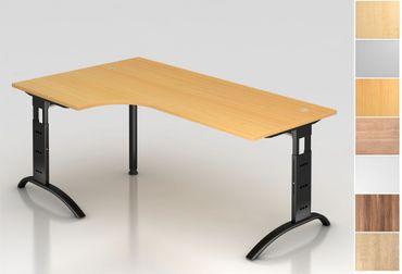 Schreibtisch höhenverstellbar, Winkelform 90°, Arbeitshöhe 650-850 mm, Tiefe 800 mm, links/rechts 1200 mm, Breite 2000 mm, Gestell C-Fuß Schwarz – Bild 1