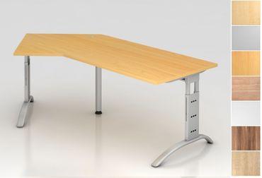 Schreibtisch höhenverstellbar, Winkelform 135°, Arbeitshöhe 650-850 mm, Tiefe 800 mm, links/rechts 1130 mm, Breite 2100 mm, Gestell C-Fuß Silber – Bild 1