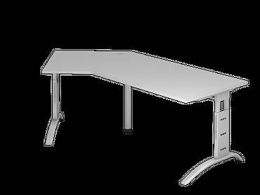 Schreibtisch höhenverstellbar, Winkelform 135°, Arbeitshöhe 650-850 mm, Tiefe 800 mm, links/rechts 1130 mm, Breite 2100 mm, Gestell C-Fuß Silber – Bild 3