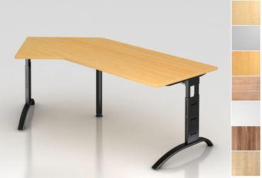 Schreibtisch höhenverstellbar, Winkelform 135°, Arbeitshöhe 650-850 mm, Tiefe 800 mm, links/rechts 1130 mm, Breite 2100 mm, Gestell C-Fuß Schwarz – Bild 1