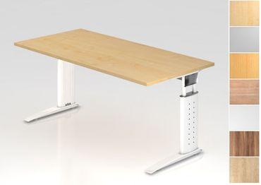 Schreibtisch höhenverstellbar, Rechteckform, Arbeitshöhe 680-860 mm, Tiefe 800/1000 mm, Breite 800/1200/1600/1800/2000 mm, Gestell C-Fuß Weiß – Bild 1