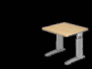 Schreibtisch höhenverstellbar, Rechteckform, Arbeitshöhe 680-860 mm, Tiefe 800/1000 mm, Breite 800/1200/1600/1800/2000 mm, Gestell C-Fuß Silber – Bild 2