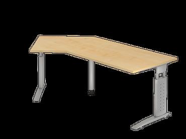 Schreibtisch höhenverstellbar, Winkelform 135°, Arbeitshöhe 680-860 mm, Tiefe 800 mm, links/rechts 1130 mm, Breite 2100 mm, Gestell Silber C-Fuß – Bild 2