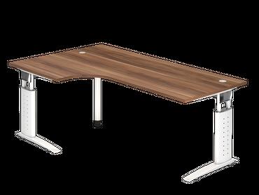 Schreibtisch höhenverstellbar, Winkelform 90°, Arbeitshöhe 680-860 mm, Tiefe 800 mm, links/rechts 1200 mm, Breite 2000 mm, Gestell Weiß C-Fuß – Bild 7
