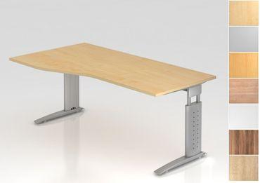 Schreibtisch höhenverstellbar, Freiform, Arbeitshöhe 680-860 mm, Tiefe 800 mm, links/rechts 1000 mm, Breite 1800 mm, Gestell Silber C-Fuß – Bild 1