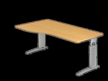 Schreibtisch höhenverstellbar, Freiform, Arbeitshöhe 680-860 mm, Tiefe 800 mm, links/rechts 1000 mm, Breite 1800 mm, Gestell Silber C-Fuß – Bild 4