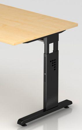Schreibtisch höhenverstellbar, Winkelform 135°, Arbeitshöhe 650-850 mm, Tiefe 800 mm, links/rechts 1130 mm, Breite 2100 mm, Gestell Schwarz C-Fuß – Bild 10