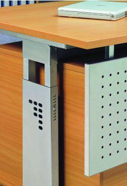 Schreibtisch höhenverstellbar, Winkelform 90°, Arbeitshöhe 650-850 mm, Tiefe 800 mm, links/rechts 1200 mm, Breite 2000 mm, Gestell Silber C-Fuß – Bild 10