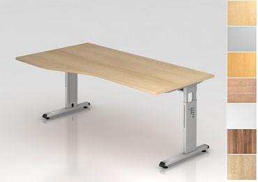 Schreibtisch höhenverstellbar, Freiform, Arbeitshöhe 650-850 mm, Tiefe 800 mm, links/rechts 1000 mm, Breite 1800 mm, Gestell Silber C-Fuß – Bild 1