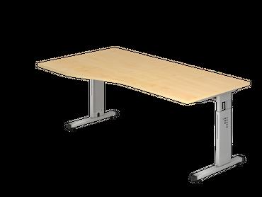 Schreibtisch höhenverstellbar, Freiform, Arbeitshöhe 650-850 mm, Tiefe 800 mm, links/rechts 1000 mm, Breite 1800 mm, Gestell Silber C-Fuß – Bild 2