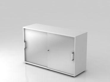 Schiebetürschrank 2 OH, 120cm, Chromgriff, Weiß/Silber