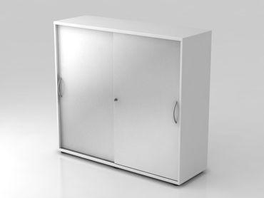 Schiebetürschrank 3 OH, 120cm, Bogengriff, Weiß/Silber