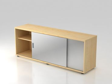 Sideboard 1,5 OH, beidseitig nutzbar, Ahorn/Silber