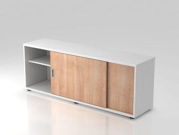 Sideboard 1,5 OH, beidseitig nutzbar, Weiß/Nussbaum