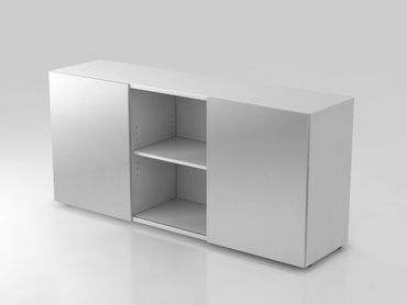 Sideboard 2 OH, mit Schiebetüren, Weiß/Silber