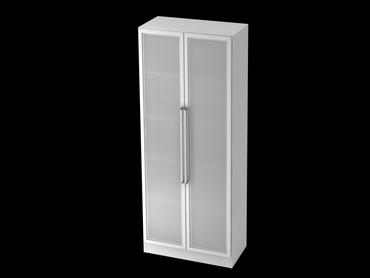 Glastürenschrank 5 OH, Sockelblende Chromgriff, Weiß/Silber