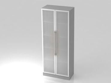 Glastürenschrank 5 OH, Sockelblende Relinggriff,  Grau/Silber