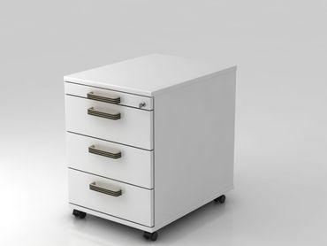 Rollcontainer 58cm, 3 Schübe,  Schloß, Streifengriff, Weiß