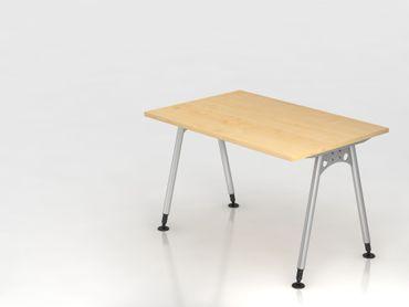 Schreibtisch A-Fuß 120x80cm,  Ahorn/Silber