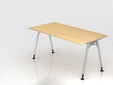 Schreibtisch A-Fuß 160x80cm,  Ahorn/Silber