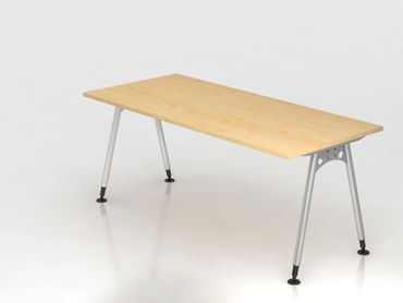Schreibtisch A-Fuß 180x80cm, Ahorn/Silber