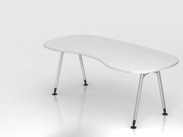 Nierentisch A-Fuß 200x100cm, Weiß