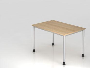 Schreibtisch 4-Fuß-rund 120x80cm, Eiche/Silber