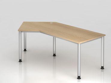 Winkeltisch 4-Fuß-rund.210x113cm, 135°, Eiche/Silber