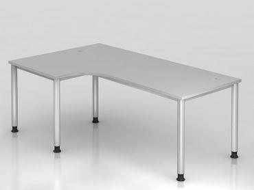 Winkeltisch 4-Fuß-rund.200x120cm, 90°, Grau/Silber
