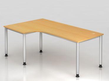 Winkeltisch 4-Fuß-rund.200x120cm, 90°, Buche/Silber