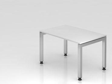 Schreibtisch U-Fuß eckig, 120x80cm, Weiß