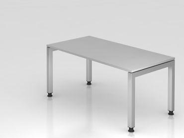 Schreibtisch U-Fuß eckig, 160x80cm, Grau