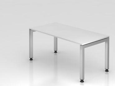 Schreibtisch U-Fuß eckig, 160x80cm, Weiß
