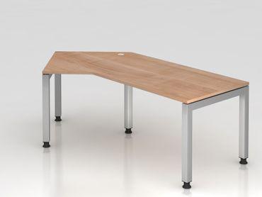 Winkeltisch U-Fuß eckig, 210x113cm, 135°, Nussbaum