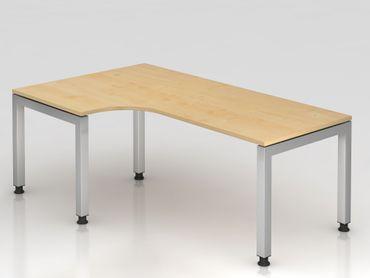 Winkeltisch U-Fuß eckig, 200x120cm, 90°, Ahorn/Silber