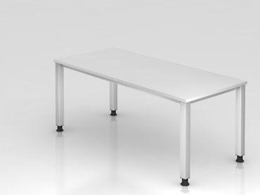 Schreibtisch 4-Fuß eckig, 180x80cm, Weiß