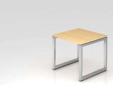 Schreibtisch O-Fuß eckig, 80x80cm, Ahorn/Silber