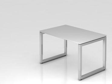 Schreibtisch O-Fuß eckig, 120x80cm, Grau