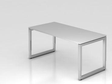 Schreibtisch O-Fuß eckig, 160x80cm, Grau