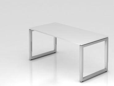 Schreibtisch O-Fuß eckig, 160x80cm, Weiß