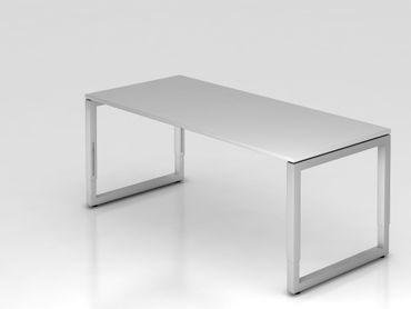 Schreibtisch O-Fuß eckig, 180x80cm, Grau