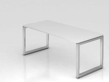 Schreibtisch O-Fuß eckig, 180x80cm, Weiß