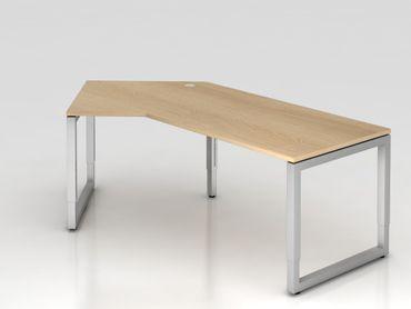 Winkeltisch O-Fuß eckig, 210x113cm, 135°, Eiche