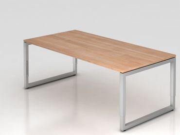 Schreibtisch O-Fuß eckig, 200x100cm, Nussbaum