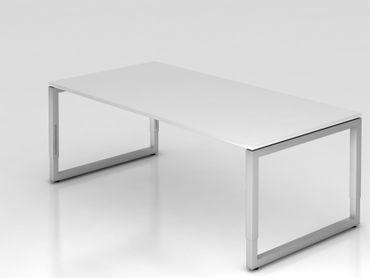 Schreibtisch O-Fuß eckig, 200x100cm, Weiß