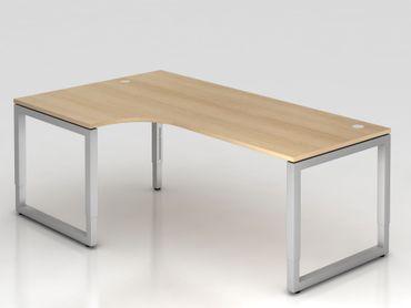 Winkeltisch O-Fuß eckig, 200x120cm, 90°, Eiche