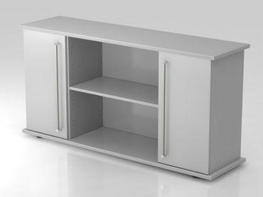 Sideboard 2 Türen 166cm, Chromgriff, Grau